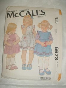 McCall's  Child's /  Girl's Jumper or Sundress  Sewing Pattern, Size 3