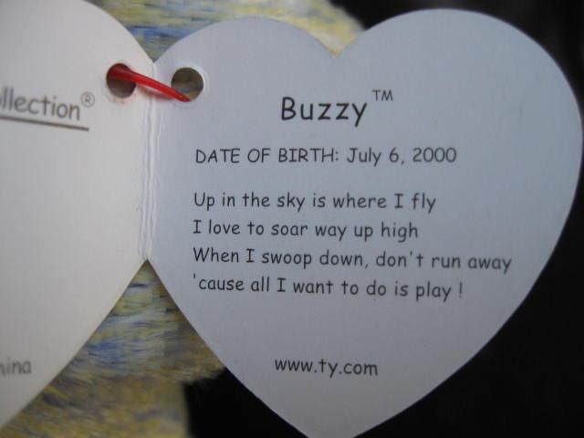 Ty Buzzy The Buzzard Beanie Baby Bird
