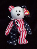 Ty White Face Spangle Patriotic Beanie Baby Teddy Bear