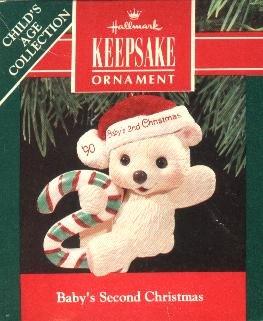 Hallmark Baby's Second Christmas 1990 Christmas Tree Ornament Baby Bear