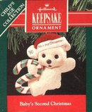 Hallmark Baby's Second Christmas 1990 Christmas Tree Ornament Baby Bear