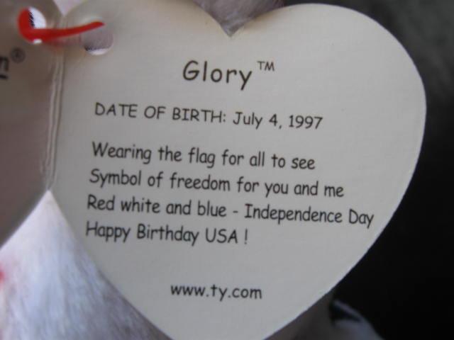 New! Ty Glory Retired Beanie Baby Patriotic Teddy Bear