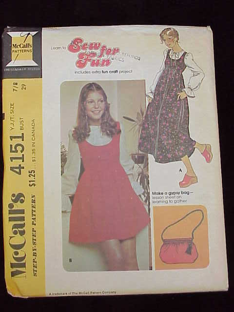 New Vintage 1970's  McCall's 4151 Yount Junior / Teen Jumper  & Gypsy Purse  Size 7/8  Sewing Pattern