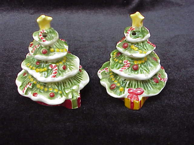 Vintage Josef Originals Christmas Tree Salt & Pepper Shakers with Original Labels
