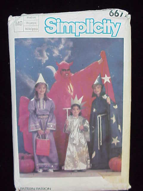 Simplicity 6672 Adults Boys & Girls  Devil, Princess Harry Potter Wizard Statue Of Liberty Halloween Costume Sewing Pattern