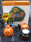 Dept. Department  56 Village HALLOWEEN ACCESSORY SET of 5 Werewolf, Black Cat 2 JOL Cauldron  Retired