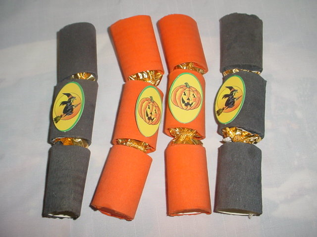 4 Vintage Halloween Crackers or Candy Containers Witch & Jack O Lantern