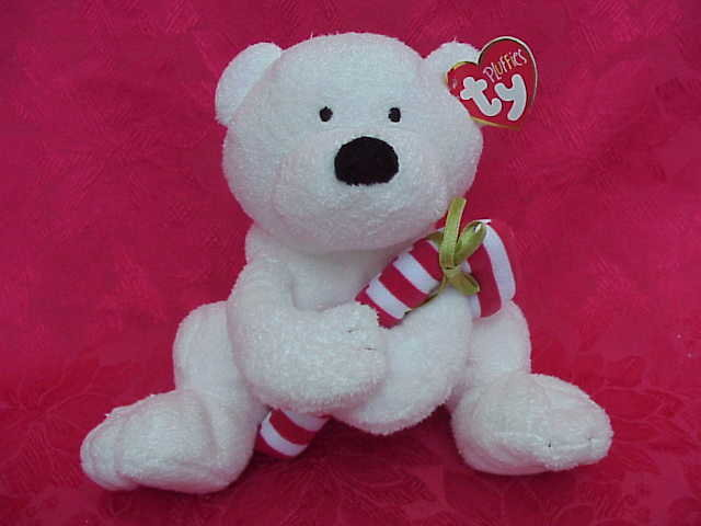 Ty CANDY CANE PLUFFIE Bear with Candy Cane Teddy Bear Retired