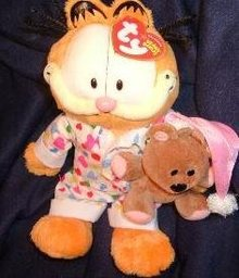 TY Beanie Baby GOODNIGHT GARFIELD With Pooky Teddy Bear Beanie Babies Retired