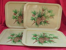 4 Metal Serving Trays Pine Cone Design - 6 Sets Available