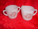 Fire King Glass Fleurette Sugar & Creamer Set