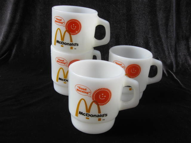 Set Of    Four  (4)  Vintage Fire King Anchor Hocking McDonald's McDonald's Good Morning Stackable Milk Glass Mugs