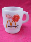Fire King Anchor Hocking McDonalds  McDonald's Good Morning Blush Version Stackable Milk Glass Mug