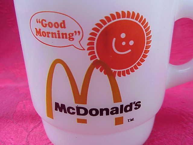 Fire King Anchor Hocking McDonalds  McDonald's Good Morning Blush Version Stackable Milk Glass Mug