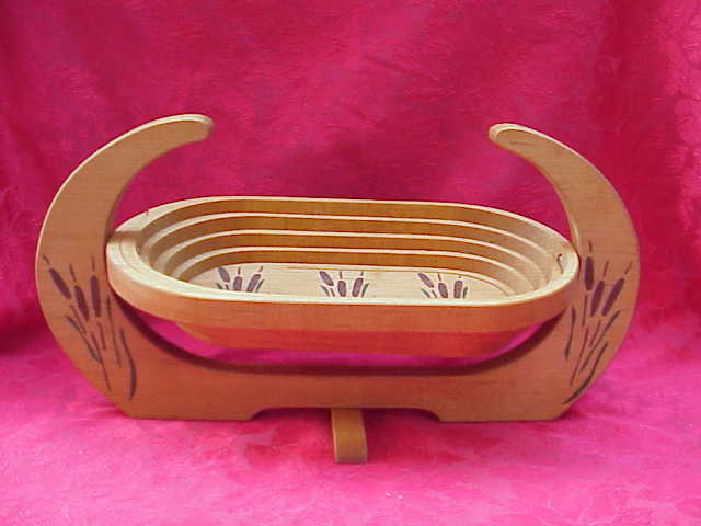 Oval Wood Hand Painted Cattail Bread Basket