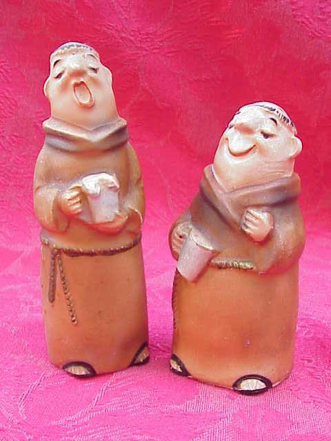 Vintage Singing & Drinking Monks Bisque Salt & Pepper Shakers