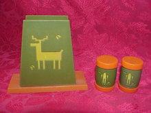 Vintage Indian & Deer Salt & Pepper Shakers With Napkin Holder St. Labre Indian School 3 Piece Set