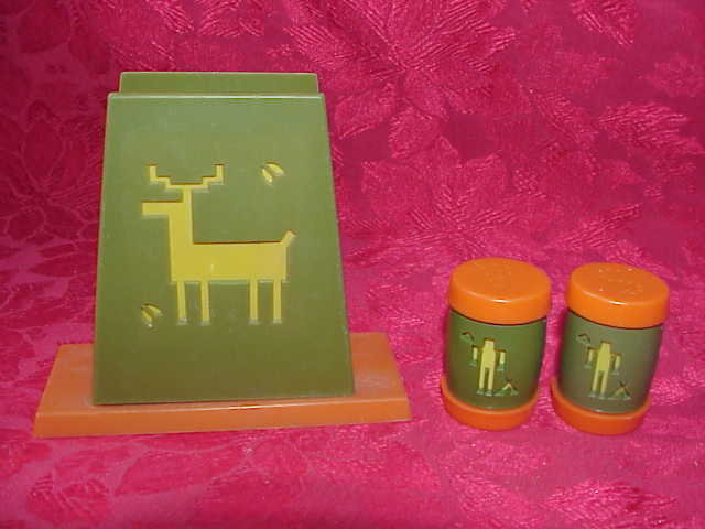 Vintage Indian & Deer Salt & Pepper Shakers With Napkin Holder St. Labre Indian School 3 Piece Set