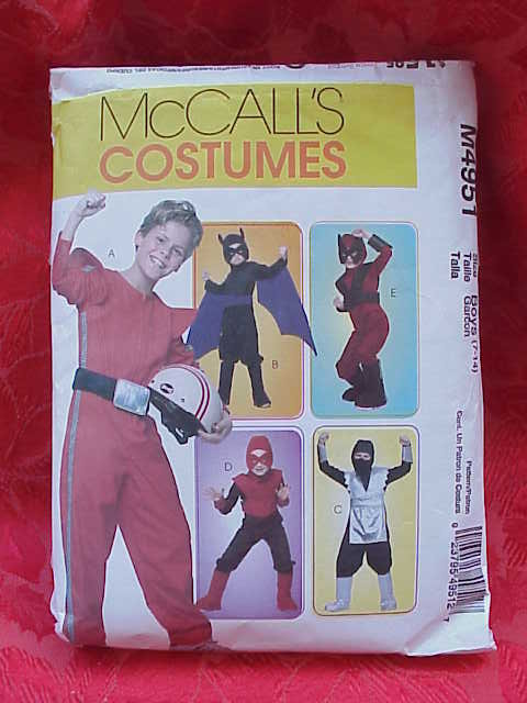McCall's M4951 Children Boy's Batman, Race Car Driver, Ninja Halloween Costume Sewing Pattern