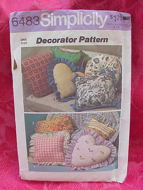 Vintage Decorative Throw Pillows Simplicity 6483 Sewing Pattern