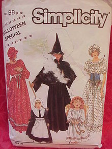 Simplicity 0418 Girl's Witch Pilgrim Angel Western Dress Halloween Costume Sewing Pattern