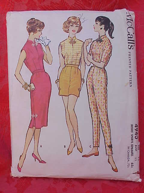 McCall's 4940 Misses' Sports Separates Blouse Pants Shorts Skirt 1950's Sewing Pattern   Size 12