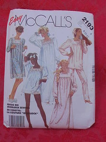 McCall's 2193 Misses' Nightgowns 1980's Sewing Pattern   Size 8 Tailles