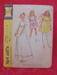 McCall's 2781 Girls' High Waisted Party Dress In 3 Versions 1970's Sewing Pattern   Size 14