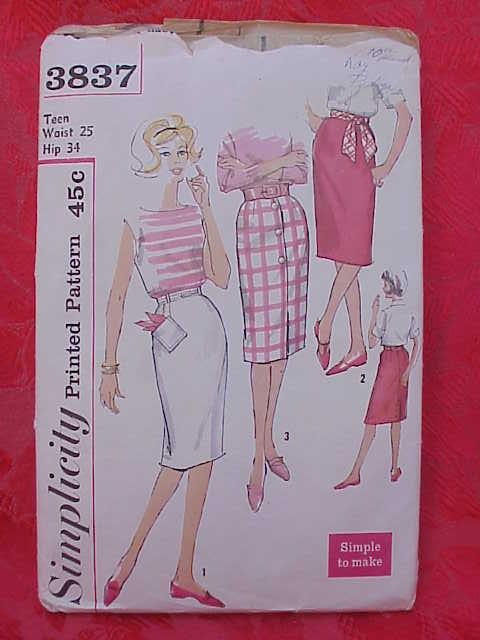 Simplicity 3837 Teen Skirts 1960's Sewing Pattern Waist 25
