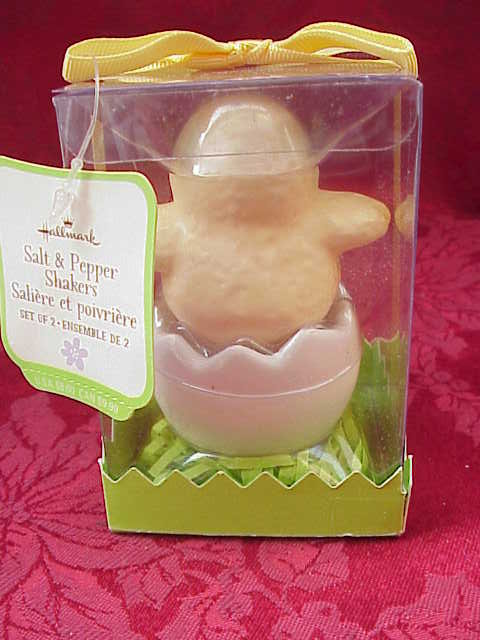 Hallmark Baby Chick Salt & Pepper Shakers  + Easter Tablecloth