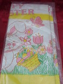 Vintage Easter Tablecloth & Hallmark Easter Bunny Candy Container