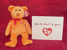 Ty Master Card Mastercard MC V Beanie Baby Bear MC V  With HAPPY ANNIVERSARY Thank You Card