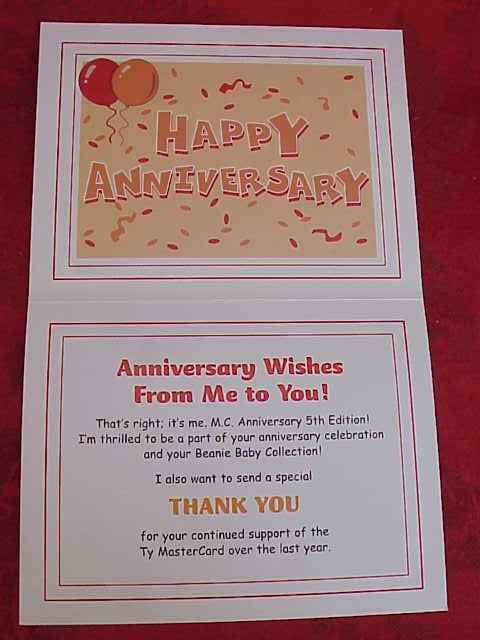Ty Master Card Mastercard MC V Beanie Baby Bear MC V  With HAPPY ANNIVERSARY Thank You Card