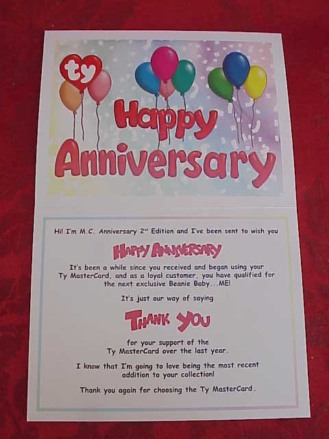 Ty Master Card Mastercard MC II Beanie Baby Bear MC II With HAPPY ANNIVERSARY  Thank You Card