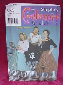 Simplicity 5403 Misses Halloween Costume 1950's Style  Sewing Pattern Poodle Skirt Size 6 8 10 12
