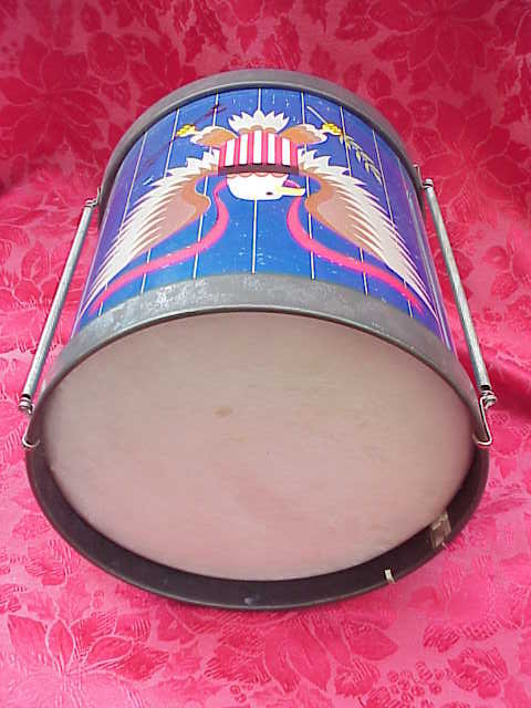 Vintage Chein Metal Toy  Patriotic Eagle Drum   Chein Toy Drum