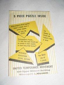 United Temperance Movement 5 Piece Rebus Paper Puzzle AA