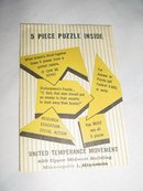 United Temperance Movement 5 Piece Rebus Paper Puzzle AA