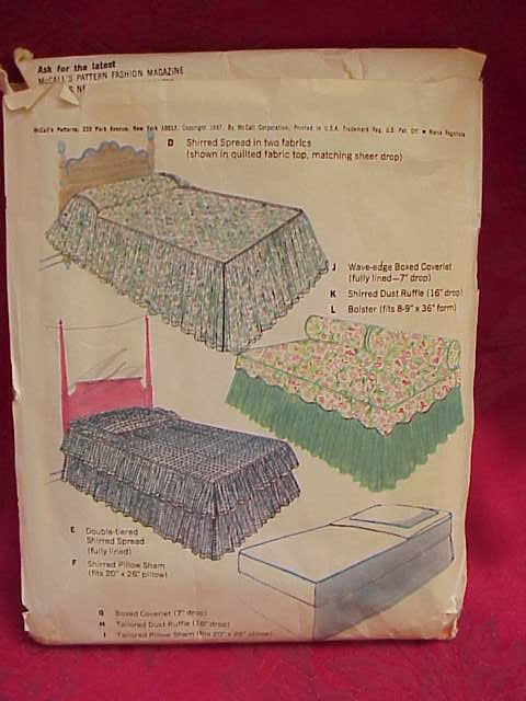 New Vintage McCall's Bedspread Bed Cover Throw Tailored Shirred Spreads + More Sewing Pattern 1960's