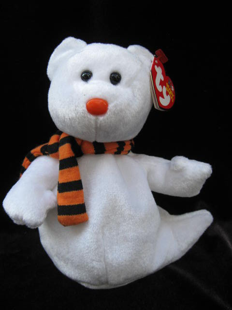 Retired Ty Quivers The Halloween Ghost Beanie Baby  Mint With Mint Tags