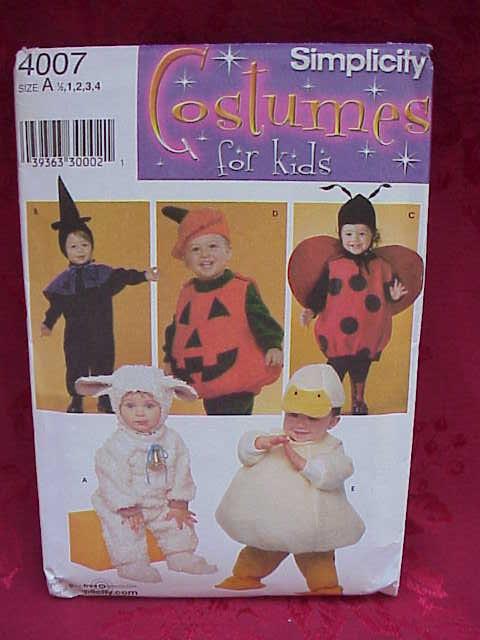 Simplicity 4007  Toddler Halloween Lamb, Duck, Ladybug, Witch, JOL Pumpkin Halloween Sewing Pattern