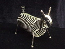 Vintage Wire Metal  Dog Letter / Mail or Bills & Pen Holder