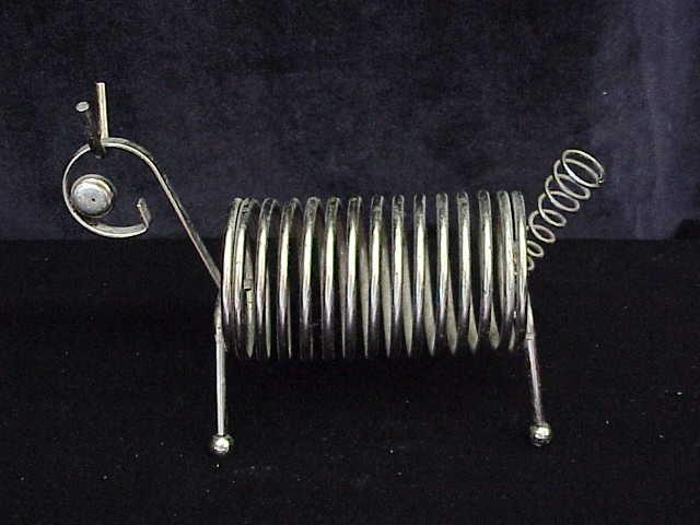 Vintage Wire Metal  Dog Letter / Mail or Bills & Pen Holder