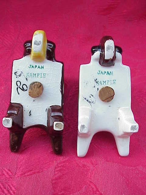 Vintage Tulip Wheelbarrow Salt & Pepper Shakers Salesman Sample