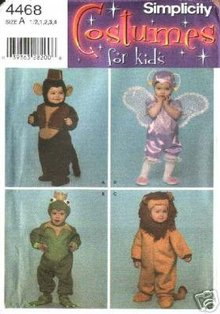 Simplicity 4468 Wizard of Oz  Monkey Good Witch Frog Lion Halloween Costume Sewing Pattern  Size 1/2,  1, 2, 3