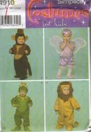 Simplicity 4910  Wizard of Oz  Monkey Good Witch Frog Lion Halloween Costume Sewing Pattern  Size 1/2,  1