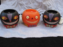 3 Department 56 Halloween Black Cats & Orange Jack O Lantern Candles