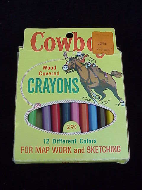 Vintage Cowboy Wood Covered Crayons Pencils