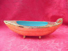 Vintage Gold & Turquoise Oriental Boat Planter