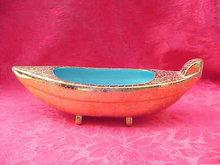 Vintage Gold & Turquoise Oriental Boat Planter